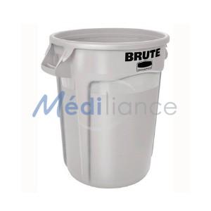 collecteur poubelle brut 121 litres blanc