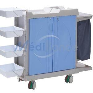 chariot de change composite 4 portes de couleurs et 2 supports sacs